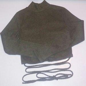 Tops - Nw Belly Tie Long Sleeve Crop Top Hunter Green
